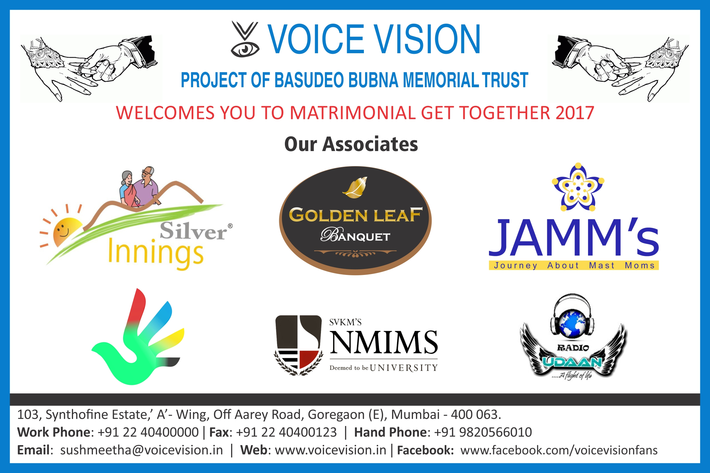 Matrimonial get-together 2017 banner with logos of sponsors such as NMIMS, golden leaf banquets, JAMM'S etc.